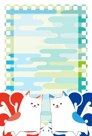 【無料戌年年賀状】赤と青のペアの犬