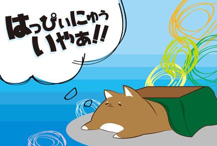 こたつに寝転ぶ犬の年賀状(ブルー系)
