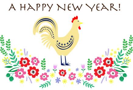 上品なお花と鶏の酉年無料年賀状