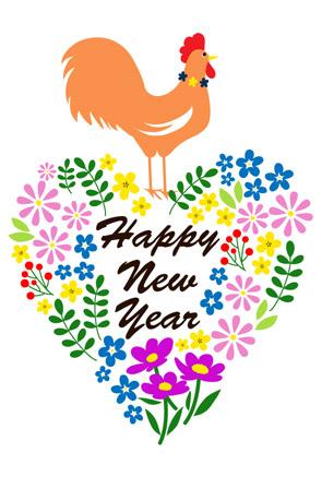 酉年無料年賀状お花のハートと鶏