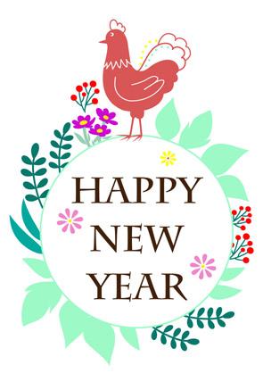 【無料】パステルカラーがかわいいシンプルな酉年年賀状