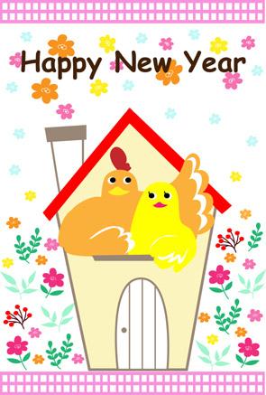 シンプル可愛い4羽のパステルカラーにわとり酉年年賀状無料