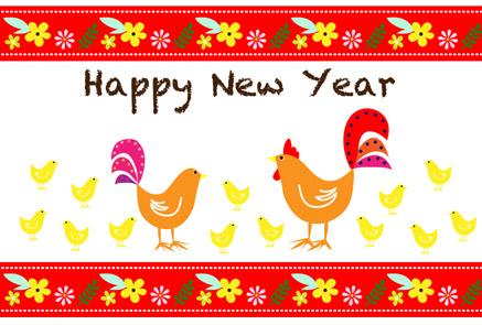 ひよこがたくさん鶏親子|無料酉年年賀状