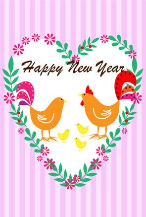 無料酉年年賀状イラスト ピンクストライプ&ハートのリース