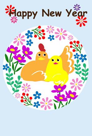 【無料】お花柄ににわとりカップルの酉年年賀状イラスト